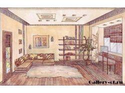 Интерьер комнаты рисунки
