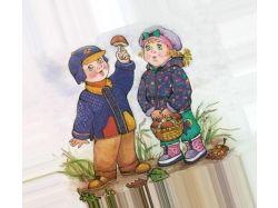 Картинка дети с мамой в лесу собирают грибы