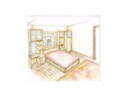 Рисунок интерьера комнаты карандашом
