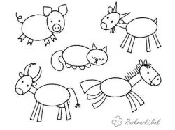 Картинки животные из геометрических фигур