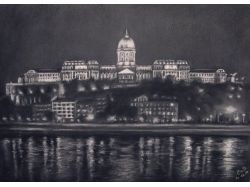 Рисунок ночного города карандашом