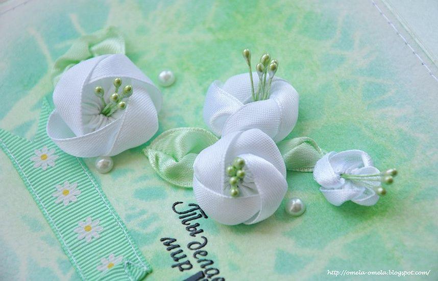 Мелкие цветы из лент атласных своими руками