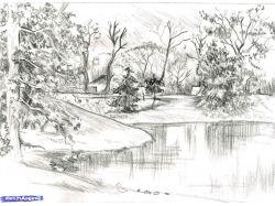 Осень рисунок пейзаж