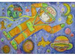 Детские рисунки на тему космос