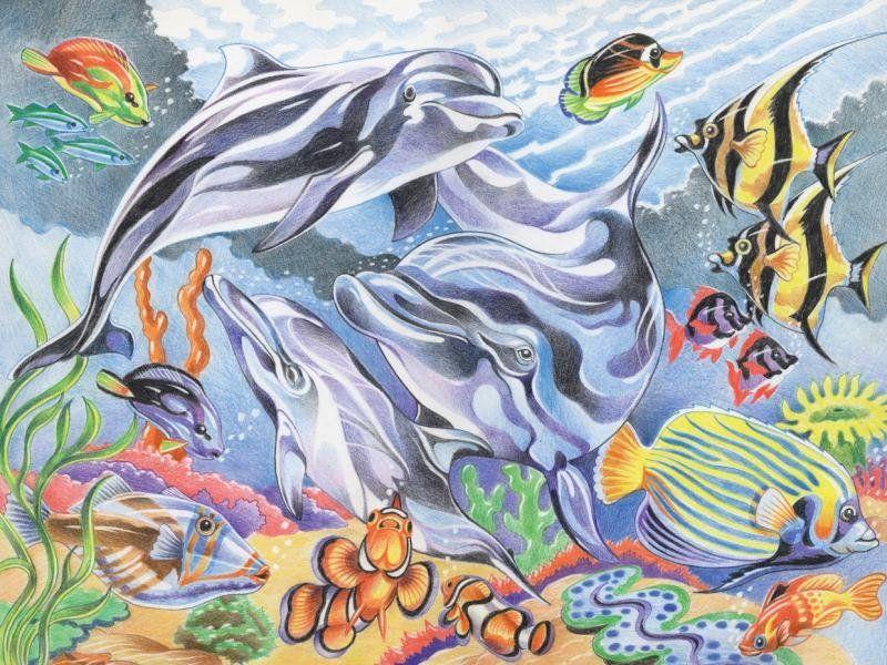 Рисунок карандашом подводного мира