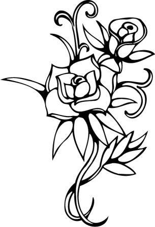 Черно белый рисунок цветок