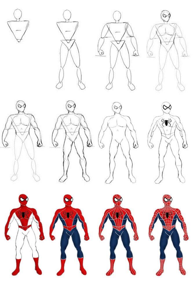 Как нарисовать человека паука пошагово