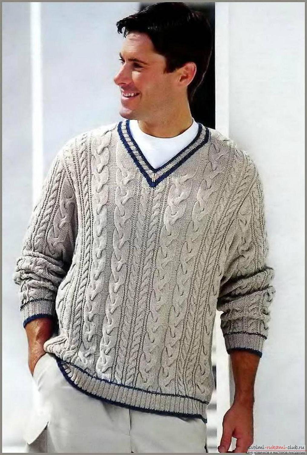 Бежевый мужской пуловер-реглан с фантазийным узором 77