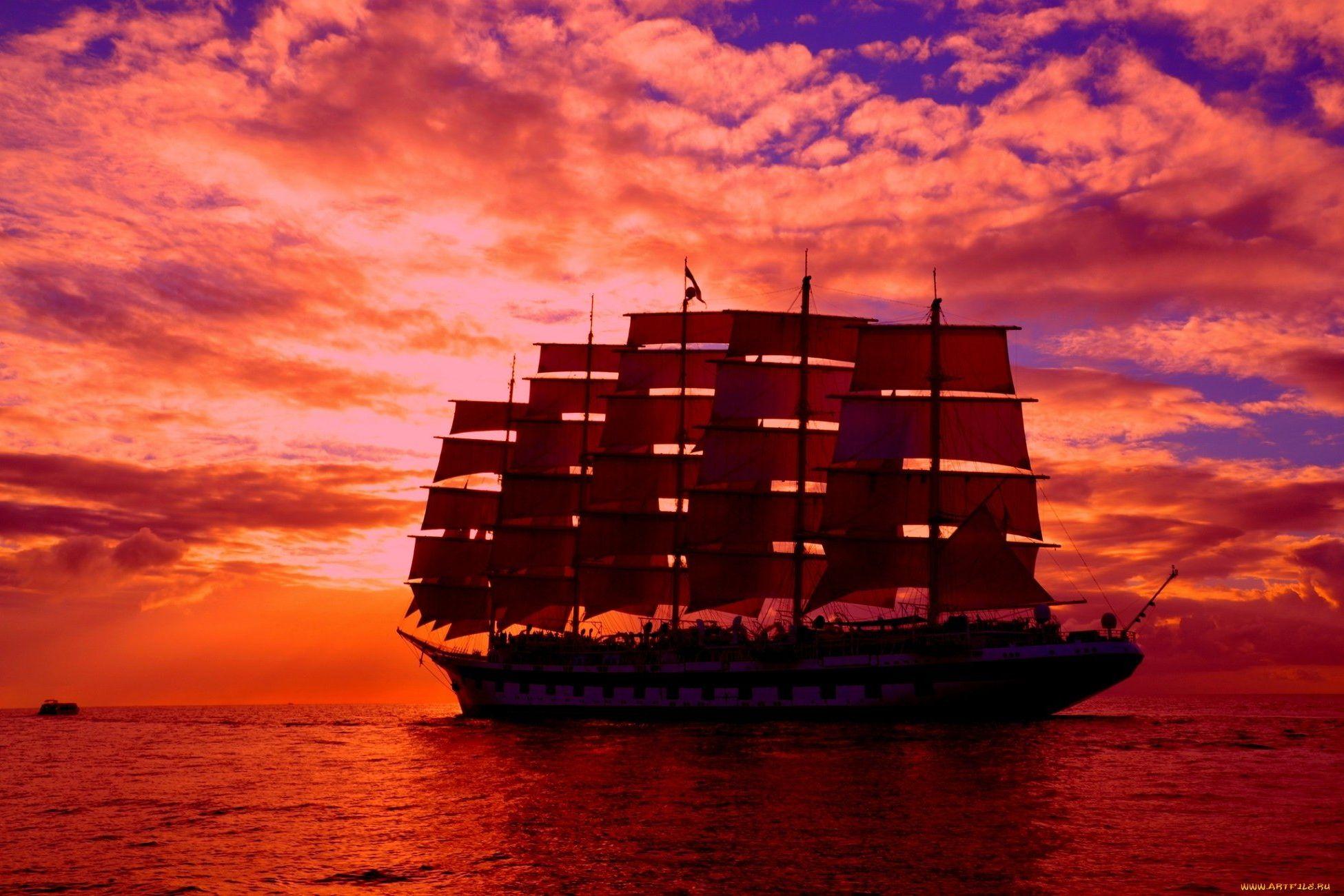 корабли на закате  № 3504075 загрузить