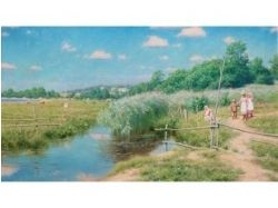 Фото лето дети пруд деревня 7