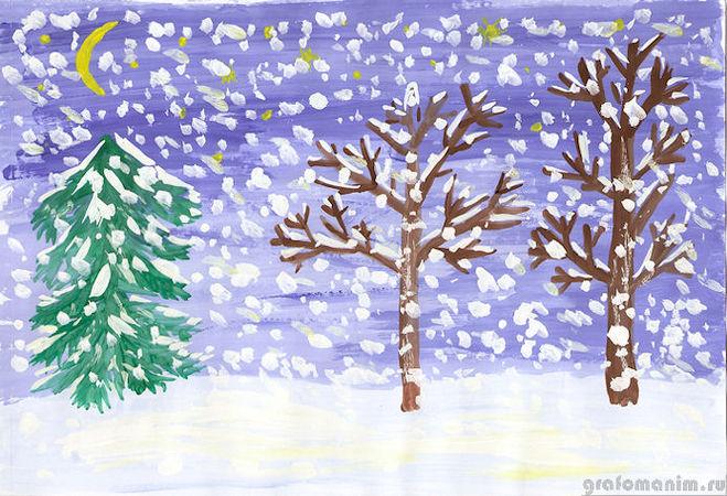 Зимний лес в рисунках детей