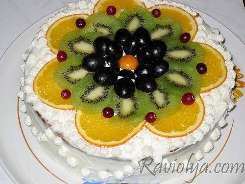 Украшения торта в домашних условиях фруктами