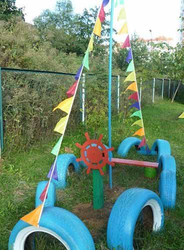 Оформление участка детского сада из колес