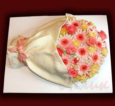 Торты в виде букета цветов из мастики