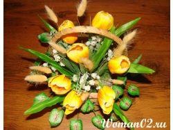 Экибана из цветов 6