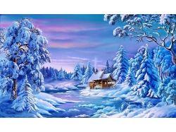 Рисованные картинки зима 7