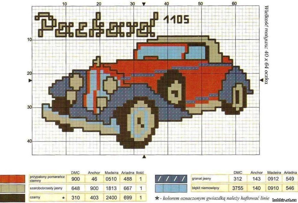 Автомобиль схема вышивки крестом 7