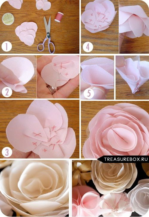 Как сделать большой цветок из ленты своими руками