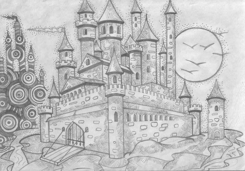 Красивый замок рисунок карандашом