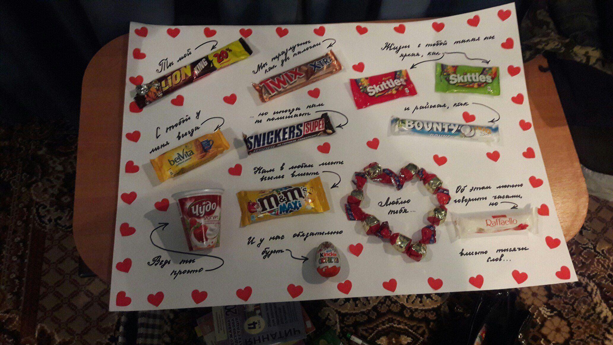 Плакат из сладостей на свадьбу своими руками