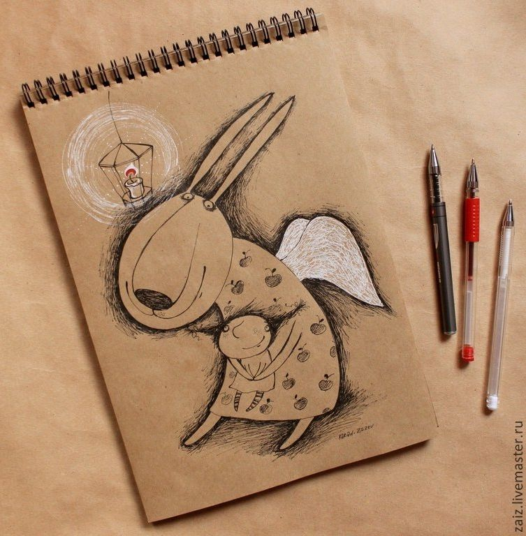 Рисунки на крафт бумаге белой ручкой