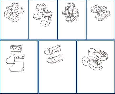 Раскраски обувь для детей в детском саду