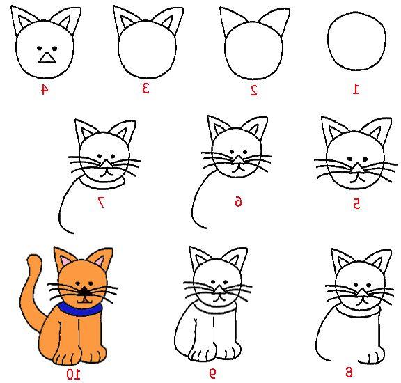 Как нарисовать кошку поэтапно и легко фото