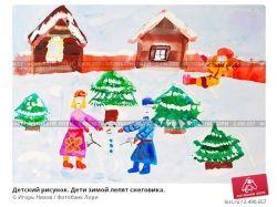 Картинки карандашом дети зимой