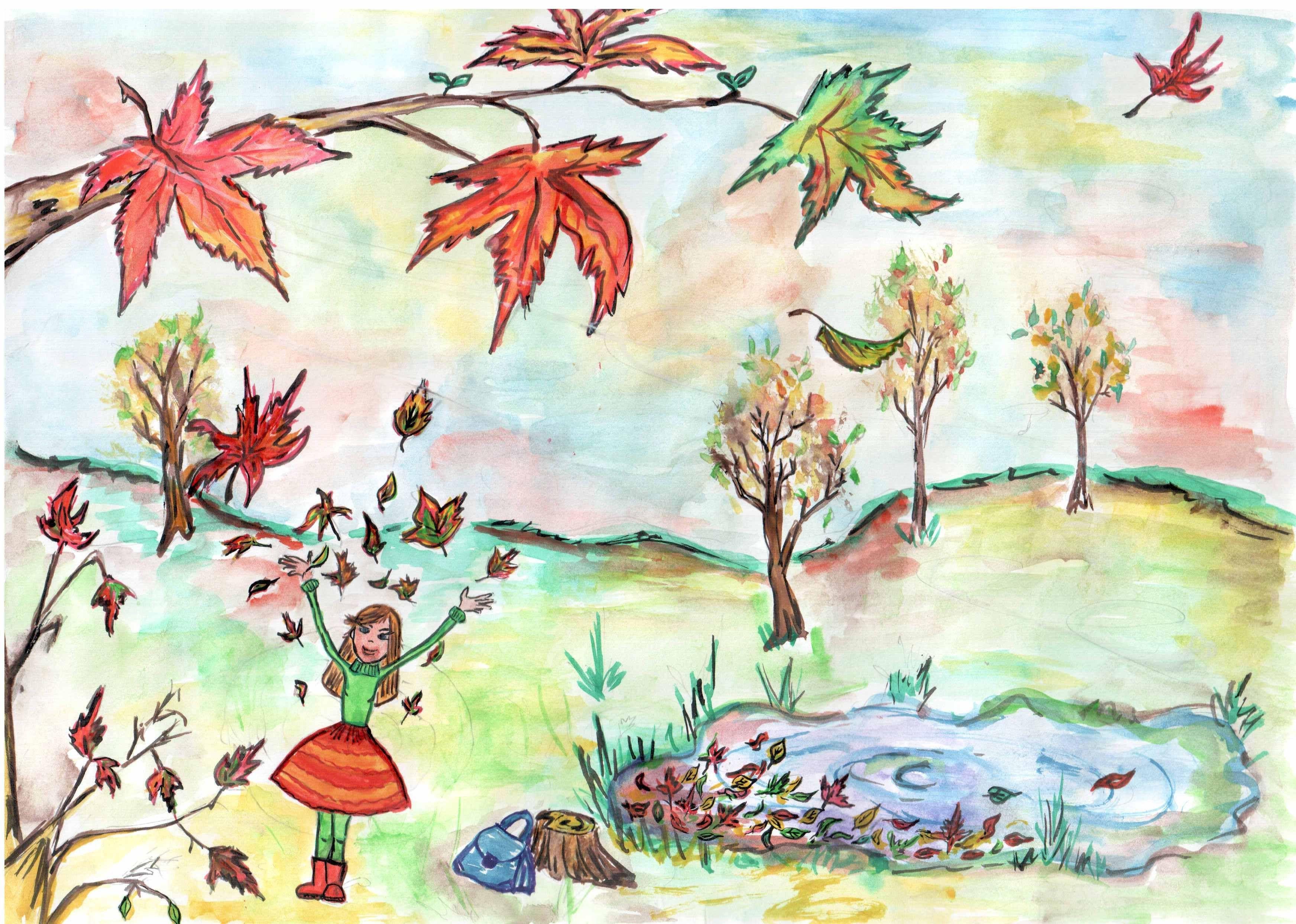 Как нарисовать осенние картинки для детей