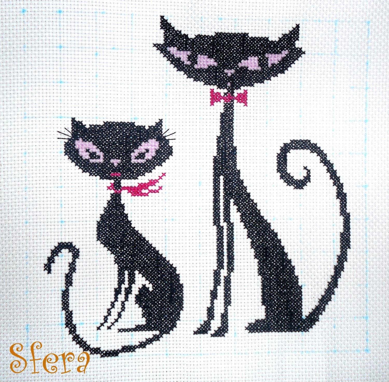 Вышивка крестом чёрная кошка
