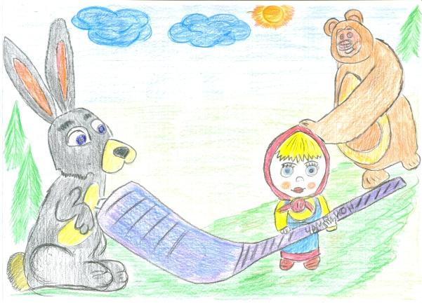 Детские рисунки о маше и медведе
