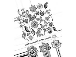 Картинки черно белые цветы нарисованные