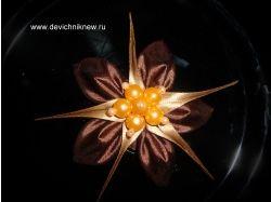 Цветы из лент пошаговое фото
