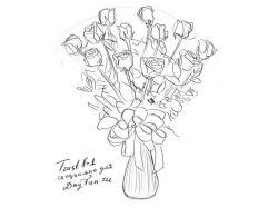 Картинки цветов в вазе нарисованные