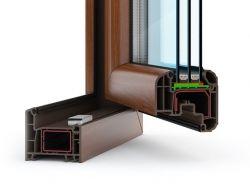 Пластиковые окна коричневые фото