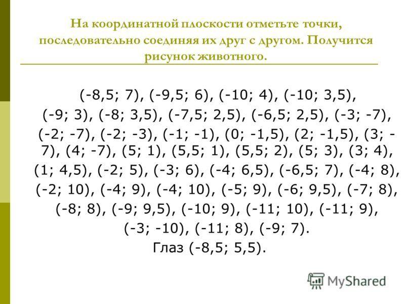 Рисуем по координатам 6 класс с координатами картинки 1