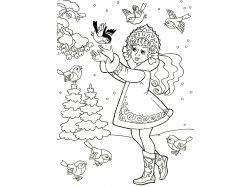 Раскраски для детей снегурочка