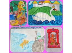 Рисунки детей по сказкам пушкина