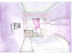 Интерьер комнаты в карандаше
