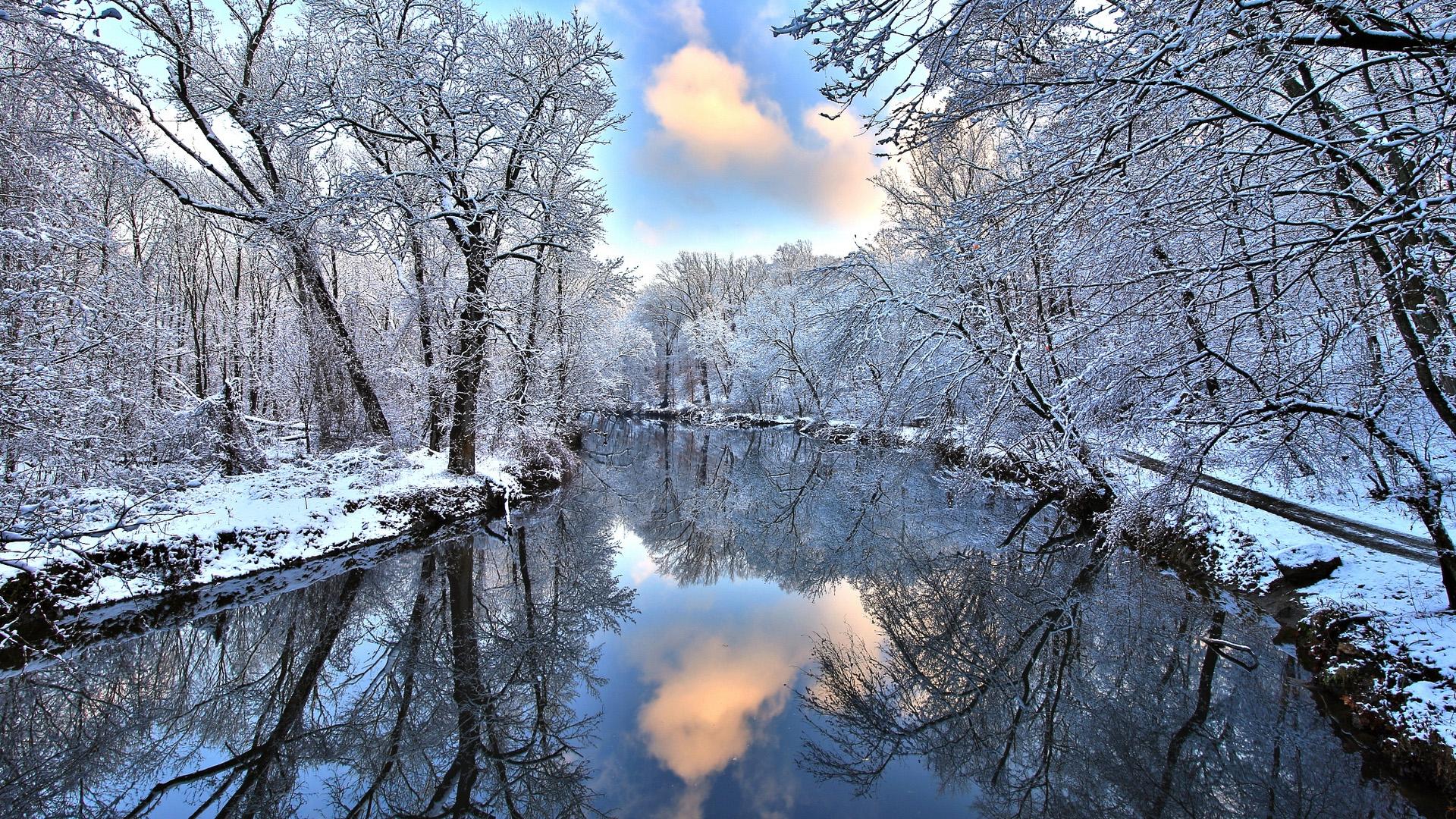 Речка зима снег иней лес деревья загрузить