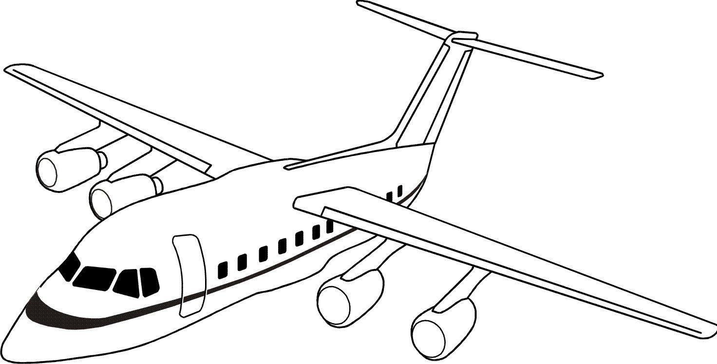 Самолет картинка детская раскраска