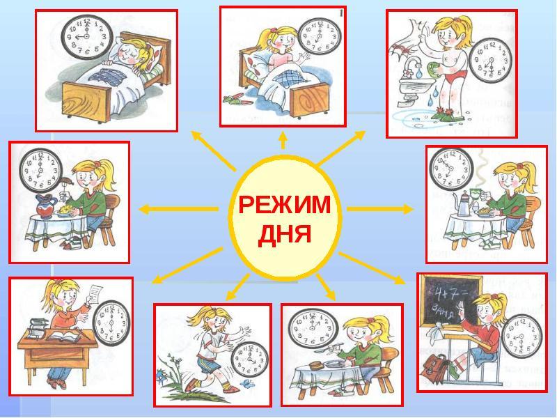 режим дня школьника в картинках