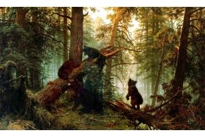 Картина мишки в лесу