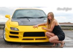 Широкоформатные картинки обои машины и девушки на комп