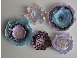 Цветы из цветной бумаги для открытки