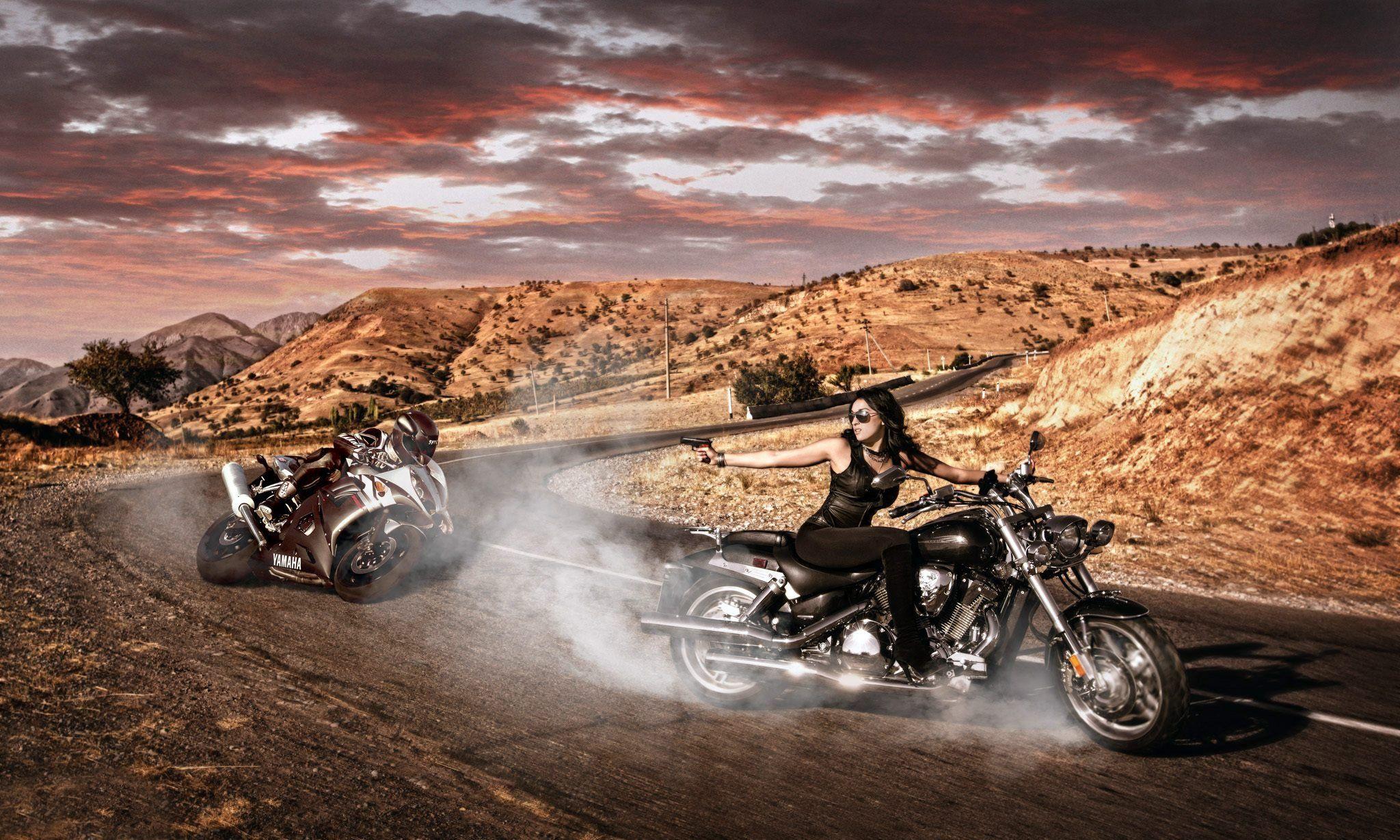Девушка мотоцикл дорога без смс