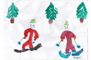 Рисунки детей на тему зимние виды спорта 6