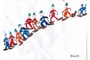 Рисунки детей на тему зимние виды спорта 7