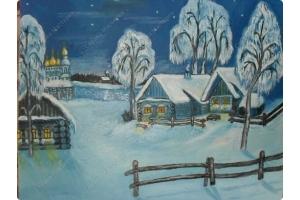 Пейзаж зимы рисунки 4