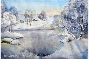 Пейзаж зимы рисунки 5